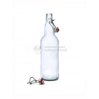 Бутылка 1 л с бугельной пробкой, прозрачное стекло