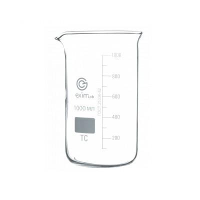 Стакан высокий с делениями и носиком 1000 мл (стекло)